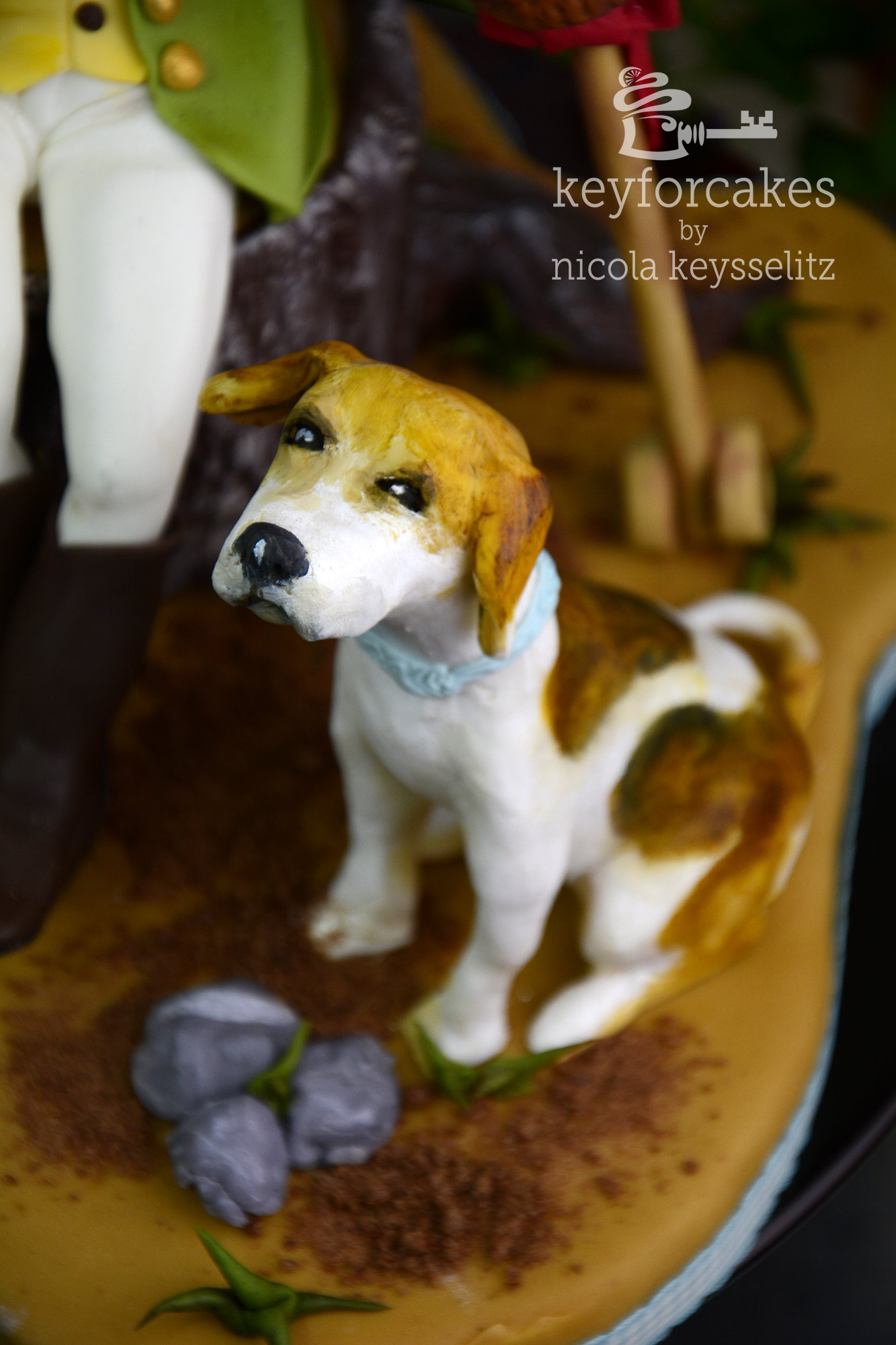 Auftragsarbeit zum 10 jährigen Jubiläum einer Reitherrin, Zuckerfigur mit Hunden